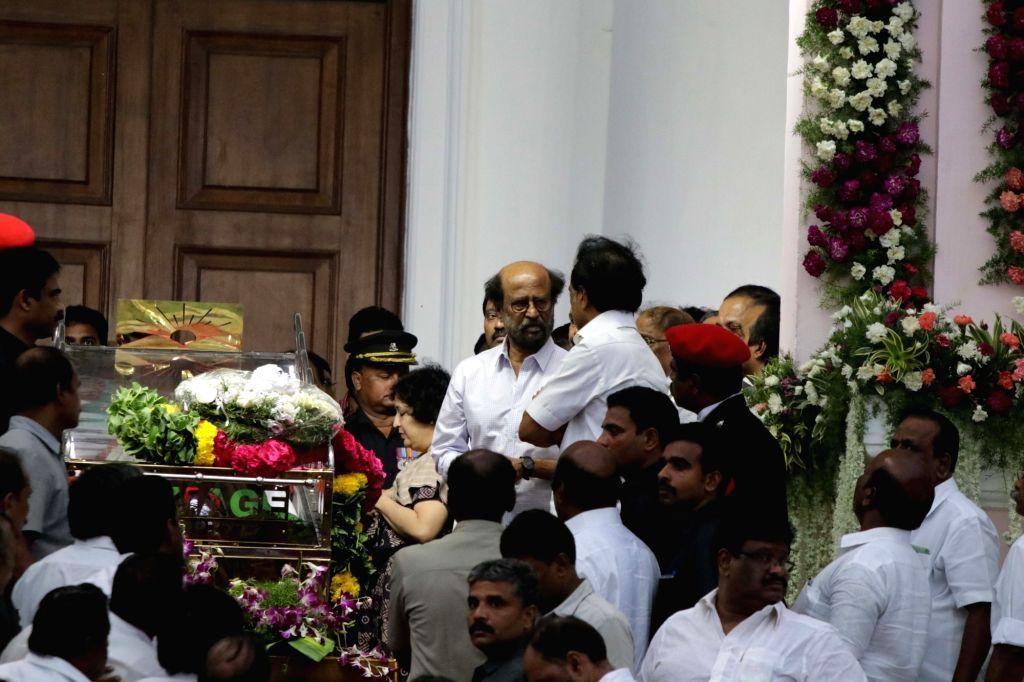 Actor Rajanikant pays last respect to DMK patriarch M. Karunanidhi at Rajaji Hall in Chennai on Aug. 8, 2018. - Rajanikant