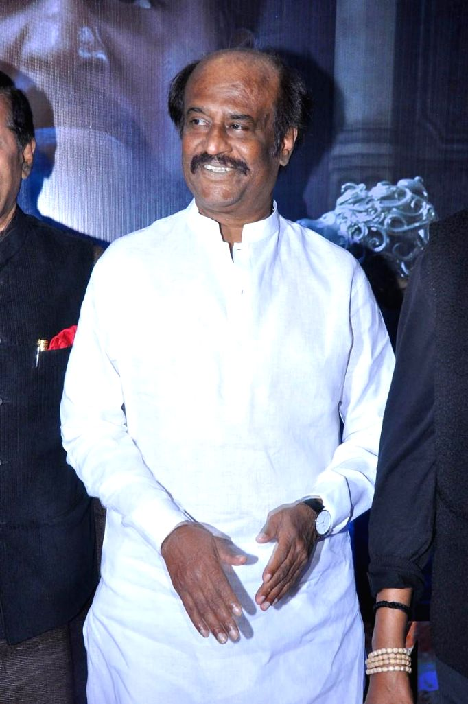 Actor Rajanikanth during Vikrama Simha (Kochadaiyaan in Tamil) audio release function held at Imox of Hyderabad on Saturday night. - Rajanikanth