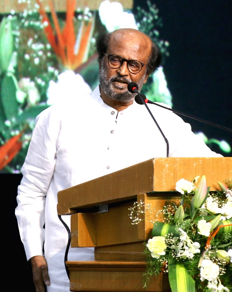 Actor Rajinikanth addresses during an event to release the Book 'Listening, Learning & ing' published by the Ministry of Information and Broadcasting, in Chennai on Aug 11, 2019. - Rajinikanth
