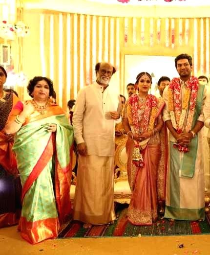 Actor Rajinikanth and Latha Rajinikanth along with their daughter Soundarya and son in-law Vishagan Vanangamudi's wedding ceremony in Chennai on Feb 10, 2019. - Rajinikanth