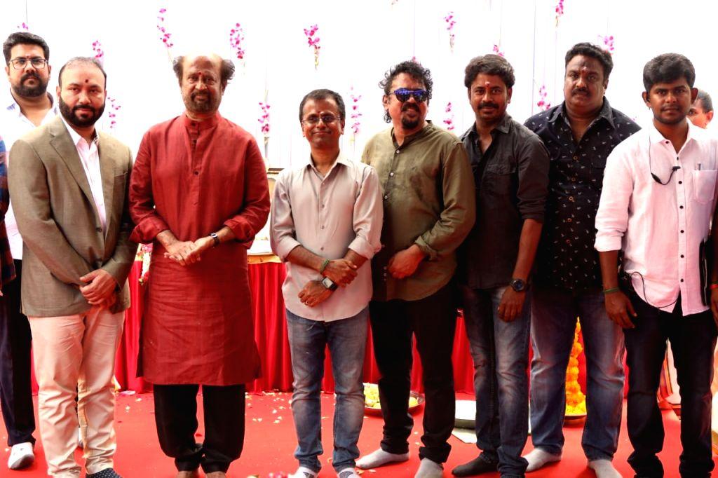 "Actor Rajinikanth during the muhurat of his upcoming film titled ""Darbar"" in Hyderabad, on April 10, 2019. - Rajinikanth"
