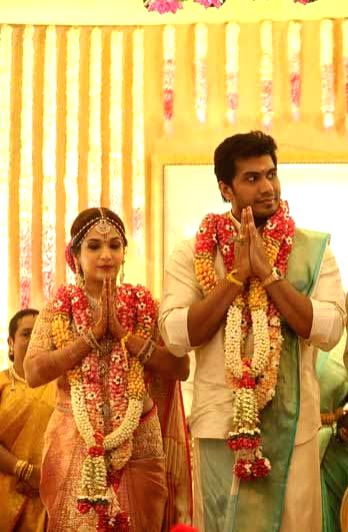 Actor Rajinikanth's daughter Soundarya and Vishagan Vanangamudi at their wedding ceremony in Chennai on Feb 10, 2019. - Rajinikant