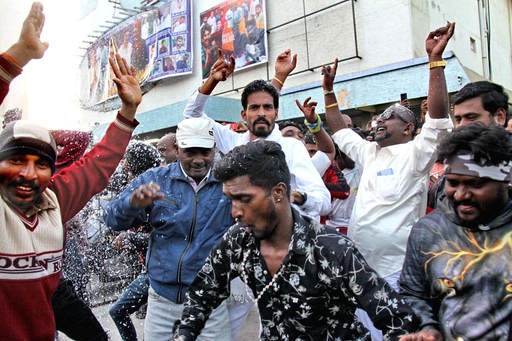 "Actor Rajinikanth's fans celebrate after his film ""Petta"" hit the theaters today, in Bengaluru, on Jan 10, 2019. - Rajinikant"