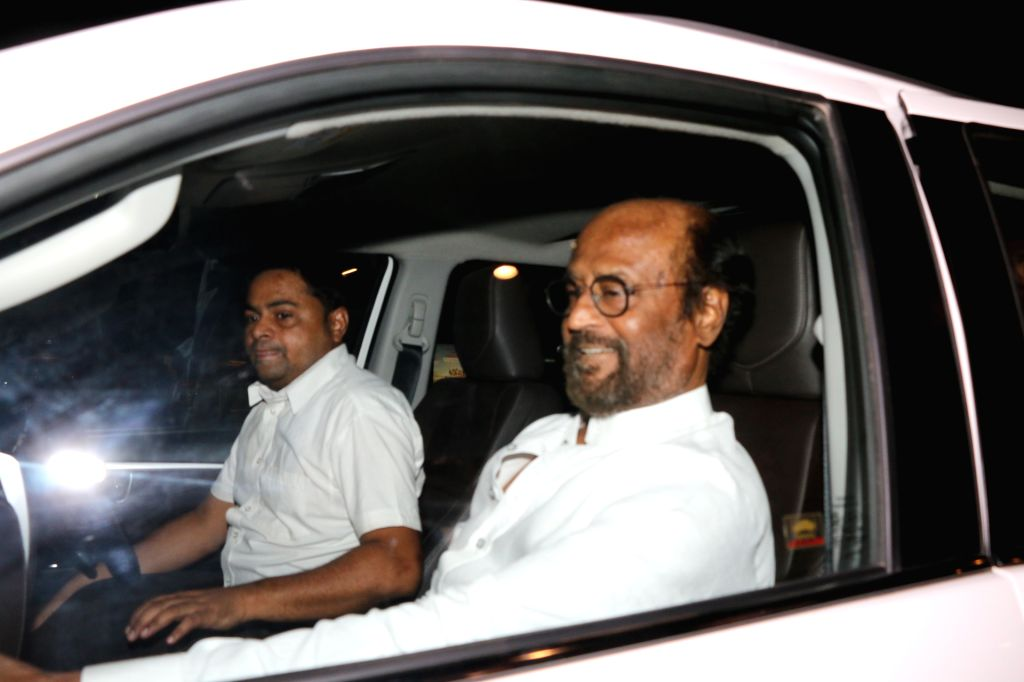 Actor Rajinikanth seen at Mumbai airport, on April 9, 2019. - Rajinikanth
