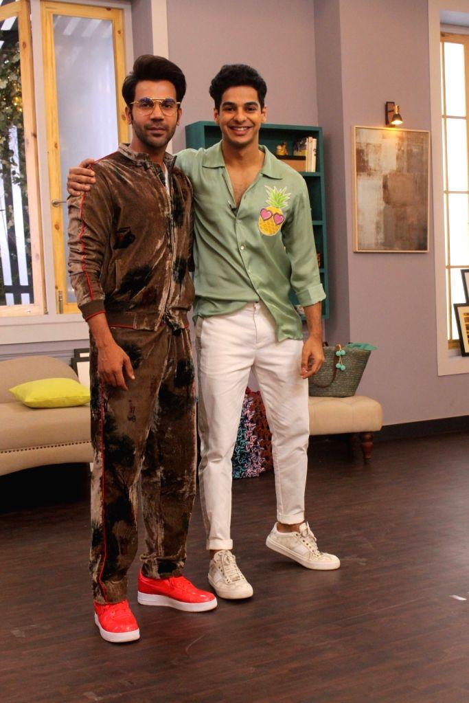 "Actor Rajkummar Rao and Ishaan Khattar on the sets of actress Neha Dhupia's show ""Vogue BFFs Season 3"" in Mumbai, on April 11, 2019. - Rajkummar Rao and Ishaan Khattar"