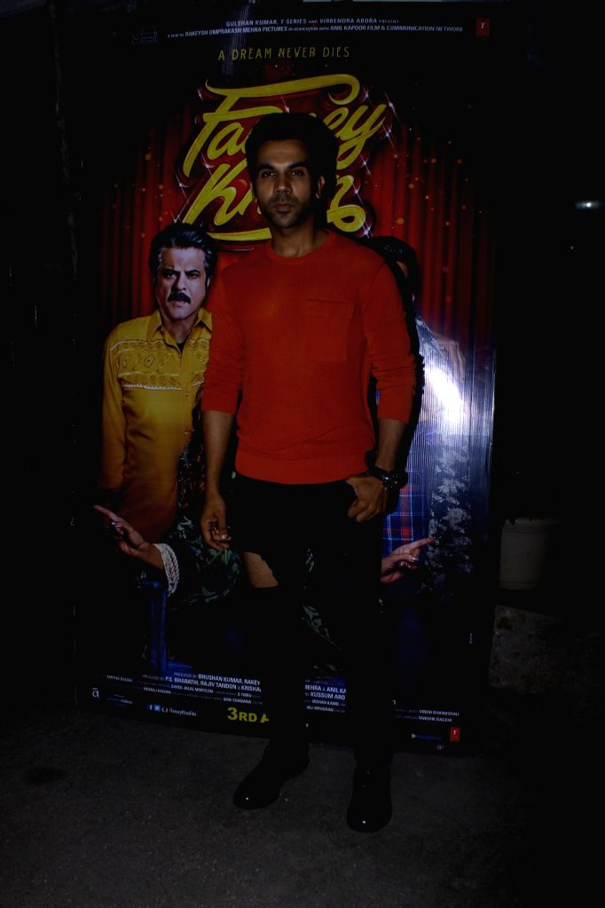 "Actor Rajkummar Rao at the special screening of upcoming film ""Fanney Khan"", in Mumbai on Aug 1, 2018. - Rajkummar Rao and Fanney Khan"