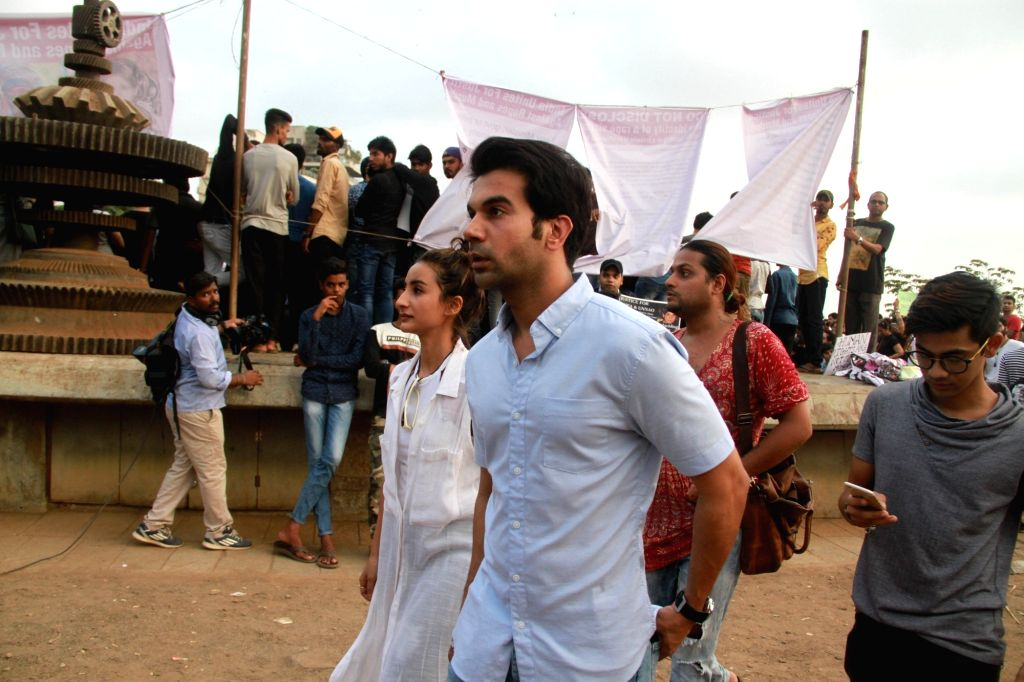 Actor Rajkummar Rao during peaceful protest against the barbaric rape and murder of an eight-year-old girl in Kathua in Jammu and Kashmir, and sexual assault of another young girl in Unnao in ... - Rajkummar Rao