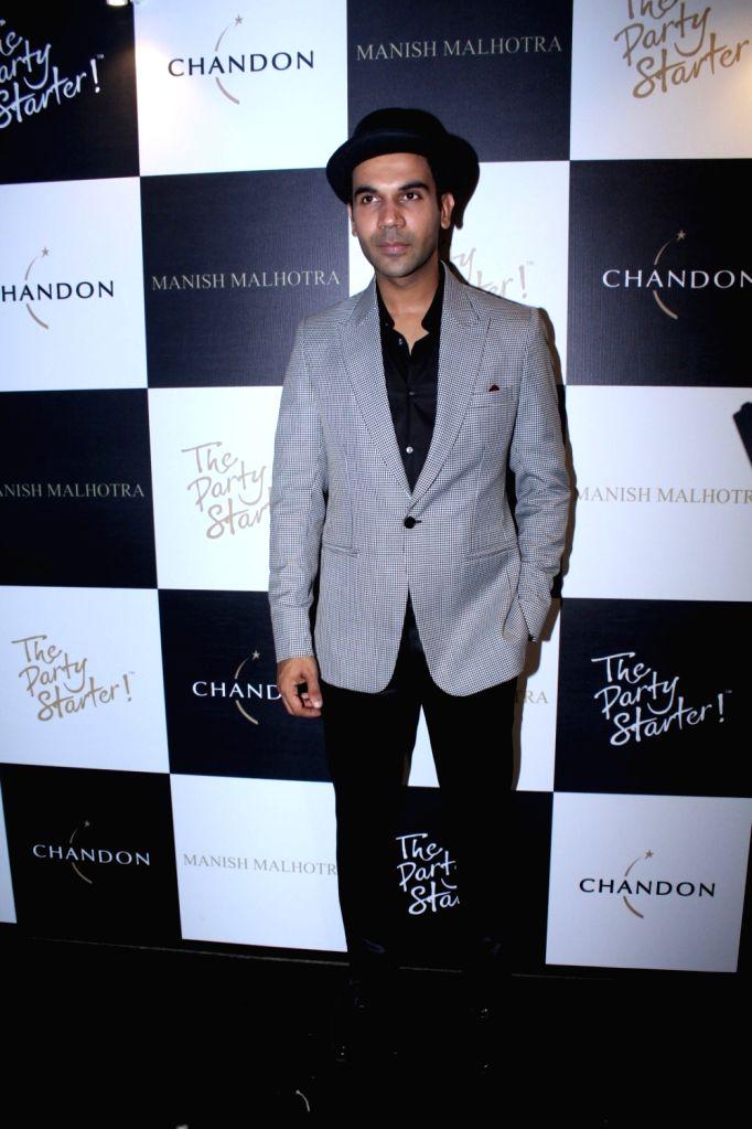 Actor Rajkummar Rao during the launch of Manish Malhotra X Chandon Champagne bottles Limited Edition End Of Year 2017 in Mumbai on Oct 9, 2017. - Rajkummar Rao