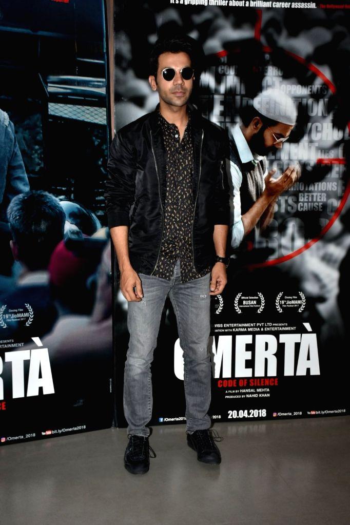 "Actor Rajkummar Rao during the promotion of his upcoming film ""Omerta"" in Mumbai on April 6, 2018. - Rajkummar Rao"
