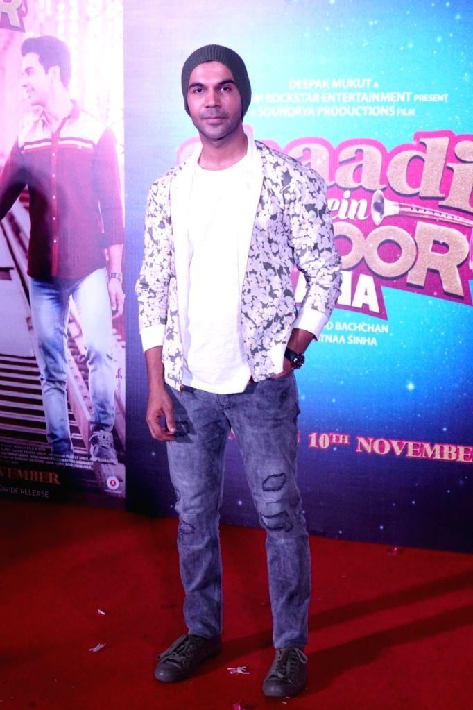 "Actor Rajkummar Rao during the trailer launch of their upcoming film ""Shaadi Mein Zaroor Aana"" in Mumbai on Oct 10, 2017. - Rajkummar Rao"
