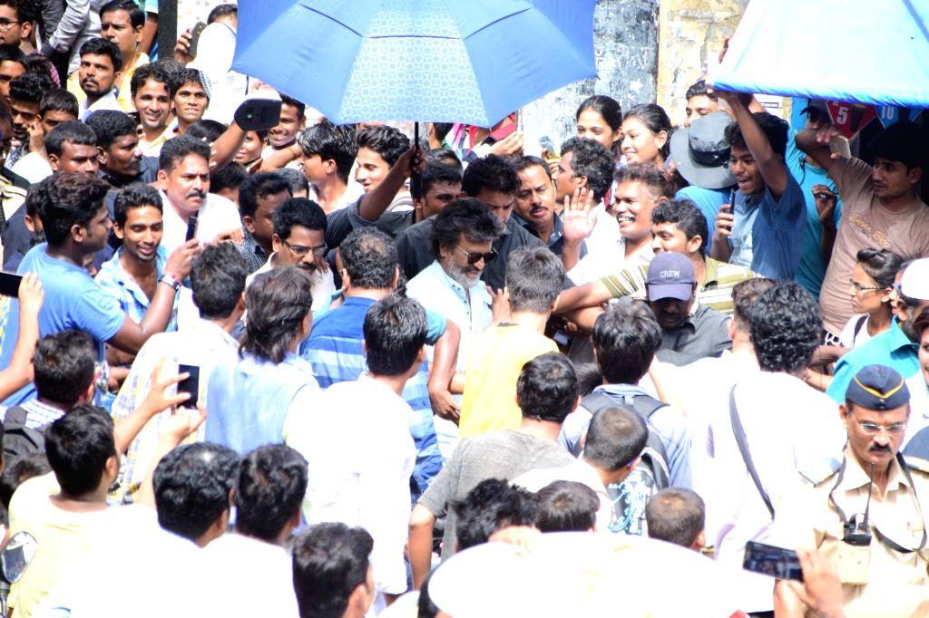 Actor Rajnikanth spotted at Wadala in Mumbai. - Rajnikanth
