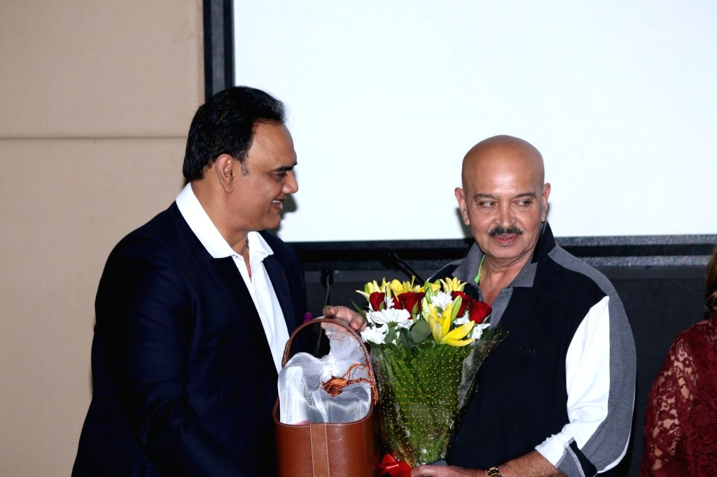 Actor Rakesh Roshan and Vivek Kumar, CEO, Aamby Valley during the launch of preview theatre Cinetheque in Mumbai on Nov 29, 2016. - Rakesh Roshan and Vivek Kumar