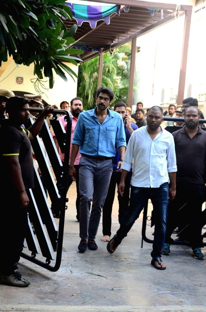 Actor Rana Daggubati pays homage to actor-politician N. Harkrishna died in a road accident in Telangana's Nalgonda district, in Hyderabad on Aug 29, 2018. - Rana Daggubati