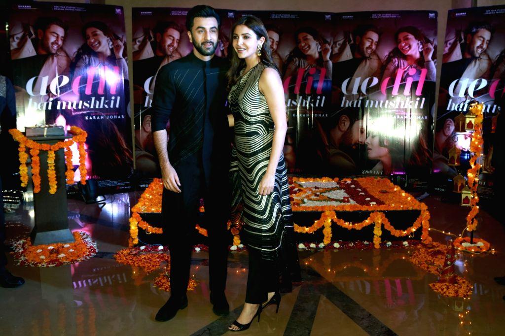 Actor Ranbir Kapoor and Anushka Sharma promoted their film Ae Dil Hai Mushkil by celebrating Diwali in Guragon on Oct 28,2016. - Ranbir Kapoor and Anushka Sharma