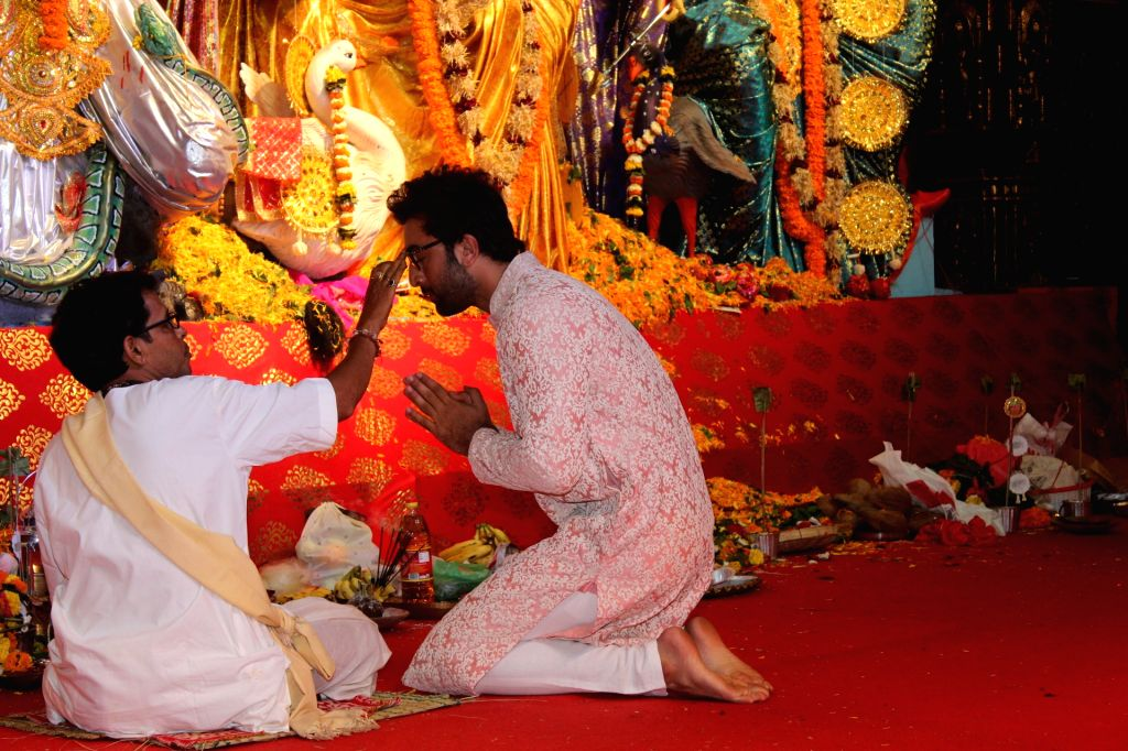 Actor Ranbir Kapoor at a Durga Puja pandal in Mumbai on Oct 7, 2019. - Ranbir Kapoor