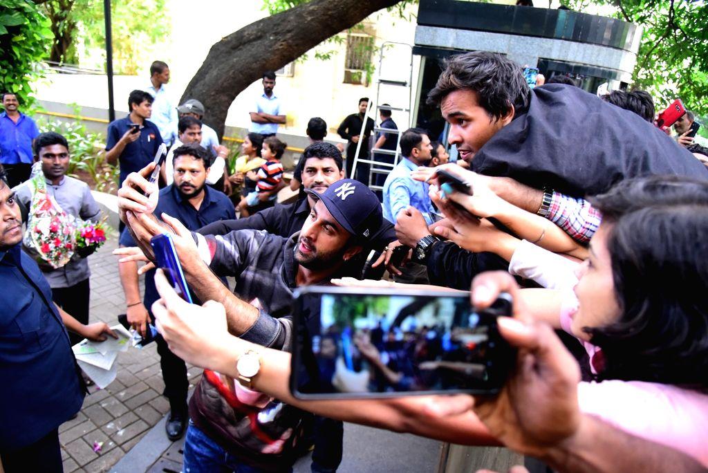 Actor Ranbir Kapoor celebrates his birthday with fans in Mumbai on Sep 28, 2019. - Ranbir Kapoor