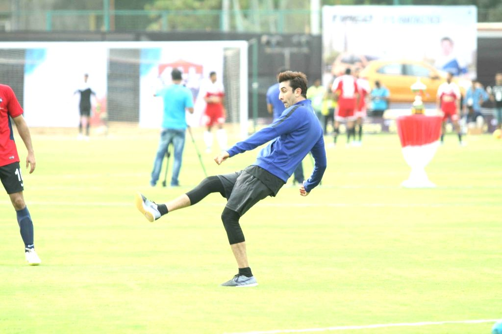 Actor Ranbir Kapoor during a celebrity football match between All Heart Football Club and All Stars Football Club, in Mumbai, on June 4, 2016. The model-turned actress converted herself to ... - Ranbir Kapoor