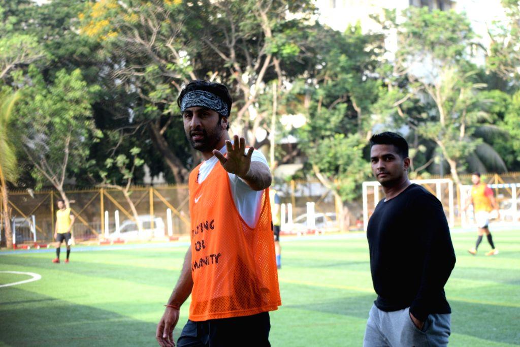 Actor Ranbir Kapoor during a football match at Juhu in Mumbai, on May 26, 2019. - Ranbir Kapoor
