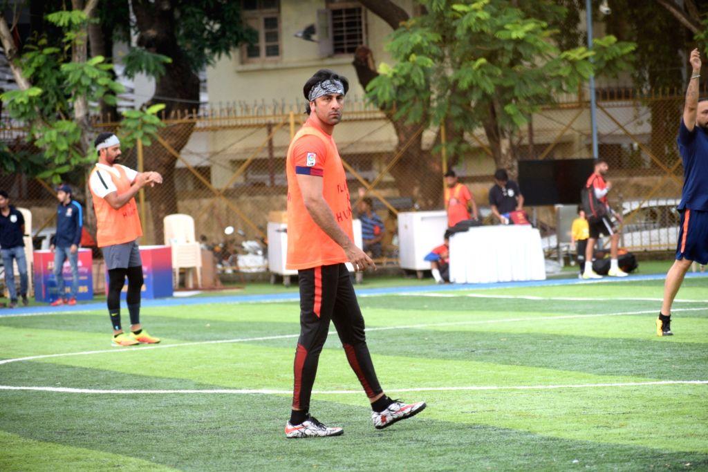 Actor Ranbir Kapoor during a football match at Juhu in Mumbai on Aug 25, 2019. - Ranbir Kapoor