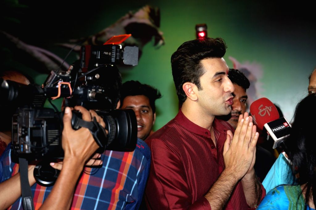 Actor Ranbir Kapoor during North Bombay Durga Puja celebrations in Mumbai on Oct. 9, 2016. - Ranbir Kapoor