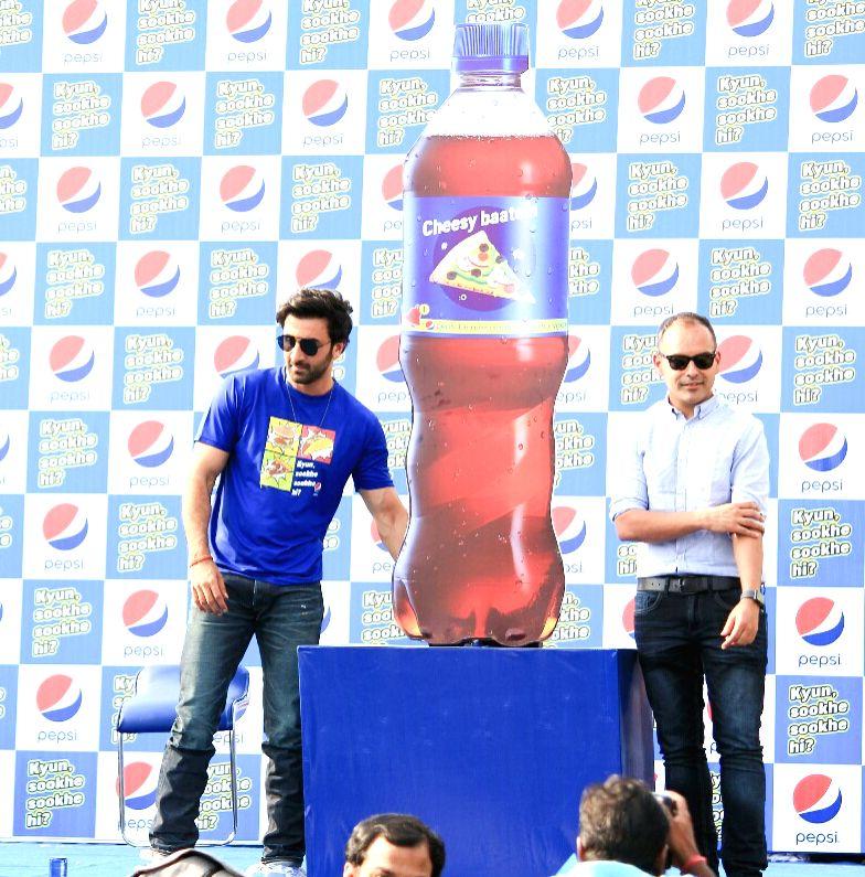 """Actor Ranbir Kapoor during Pepsi's """"Kyun Sookhe Sookhe Hi"""" campaign in Mumbai on April 5, 2018. (Photo: IANS)  - Ranbir Kapoor"""