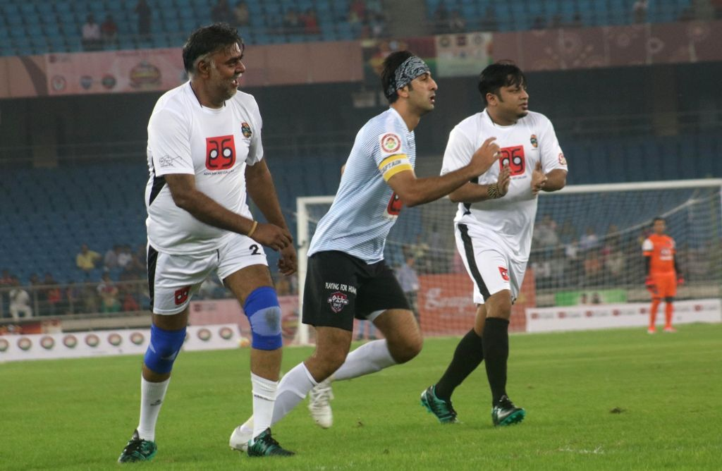 Actor Ranbir Kapoor in action during a football match between Bollywood Celebrities and Members of Parliament at Jwahar Lal Nehru Stadium, in New Delhi on July 24, 2016. - Ranbir Kapoor