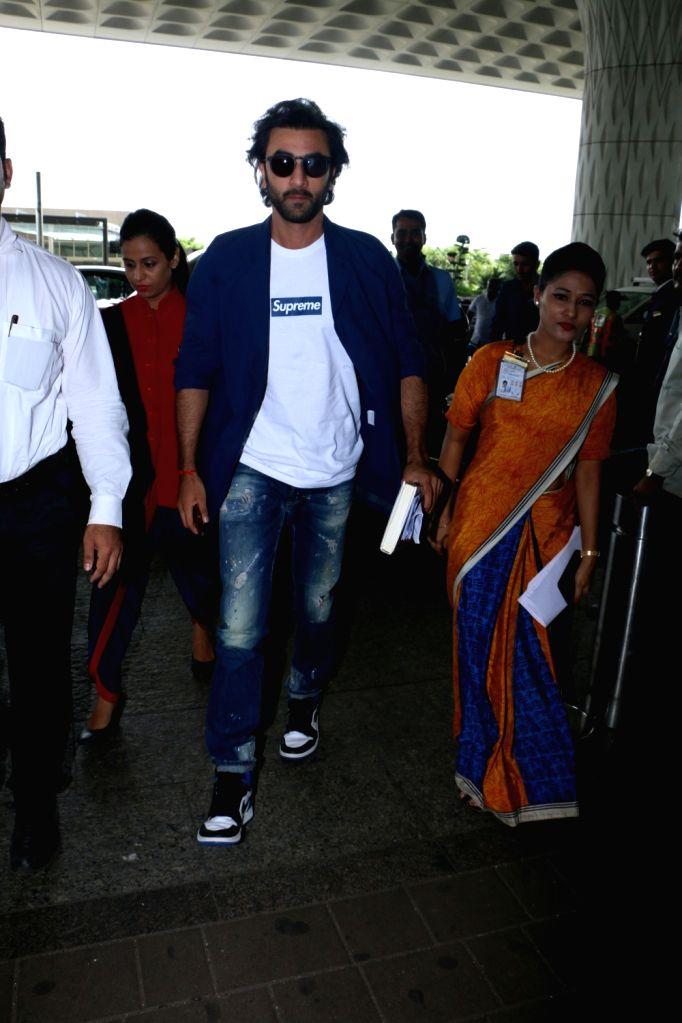 Actor Ranbir Kapoor spotted at Chhatrapati Shivaji Maharaj International airport in Mumbai. - Ranbir Kapoor