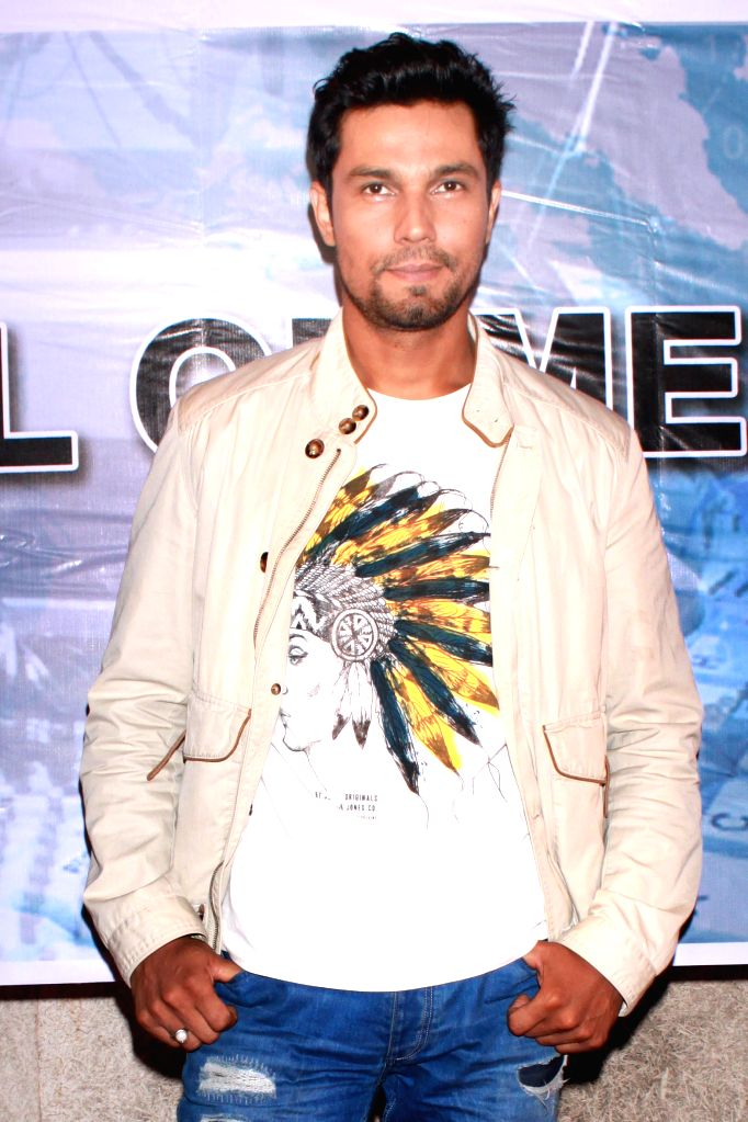 Actor Randeep Hooda during a press conference to promote their upcoming film `Main Aur Charles` in Noida, on Oct 27, 2015. - Randeep Hooda