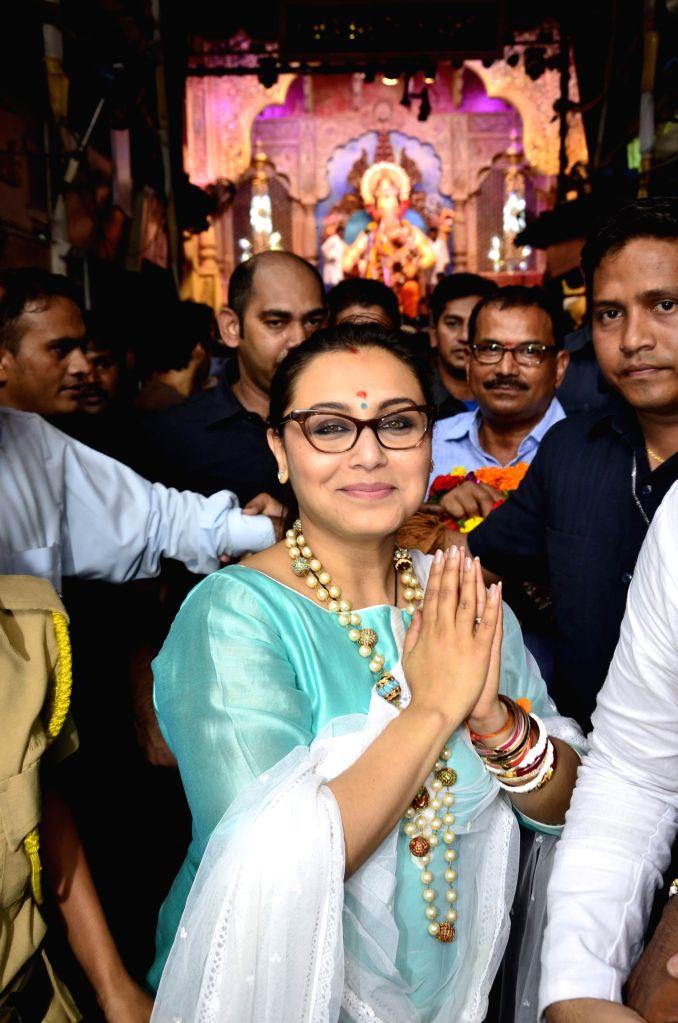 Actor Rani Mukerji visits `Lalbaug Ka Raja` on the occasion of Ganesh Chaturthi in Mumbai, on Aug 29, 2014.