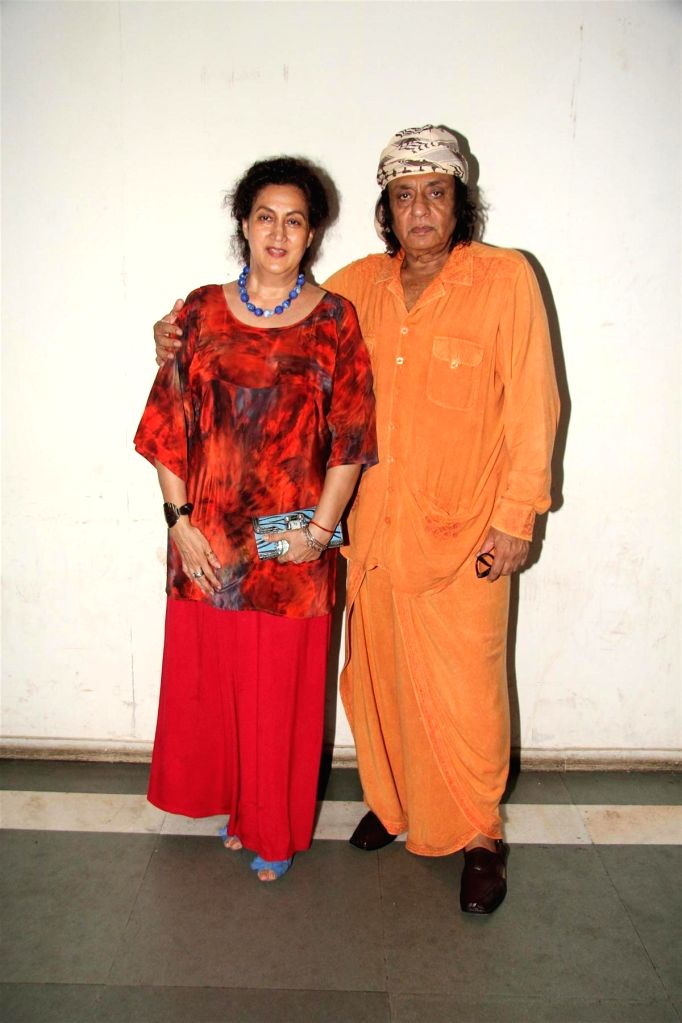 Actor Ranjeet along with wife Aloka Bedi during the party to celebrate the success of Hindi play `Sab Golmaal Hai`, in Mumbai, on July 5, 2015. - Ranjeet and Aloka Bedi