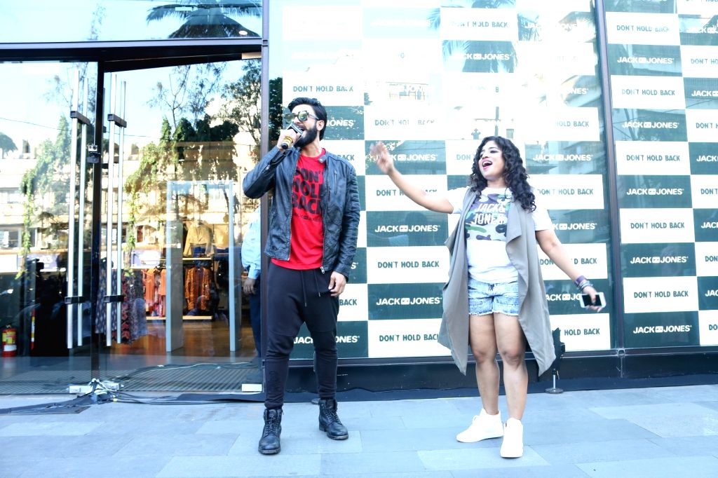Actor Ranveer Singh and RJ Malishka Mendonsa during the launch of brand campaign Don't Hold Back by fashion brand Jack & Jones in Mumbai on Oct. 7, 2016. - Ranveer Singh