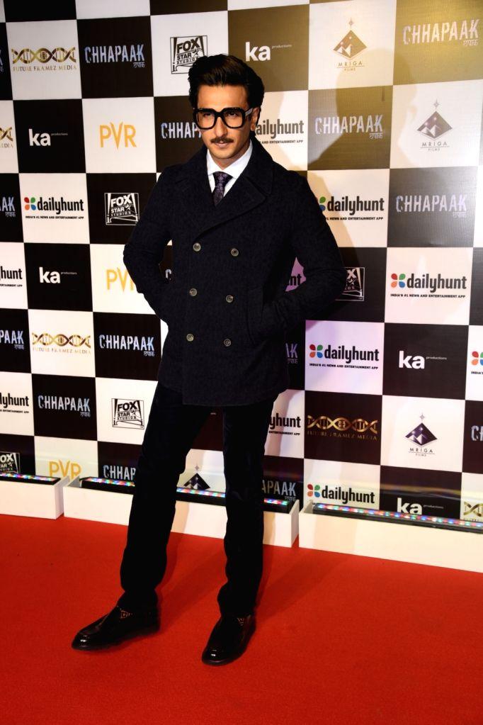 """Actor Ranveer Singh at the screening of the film """"Chhapaak"""" in Mumbai on Jan 8, 2020. - Ranveer Singh"""