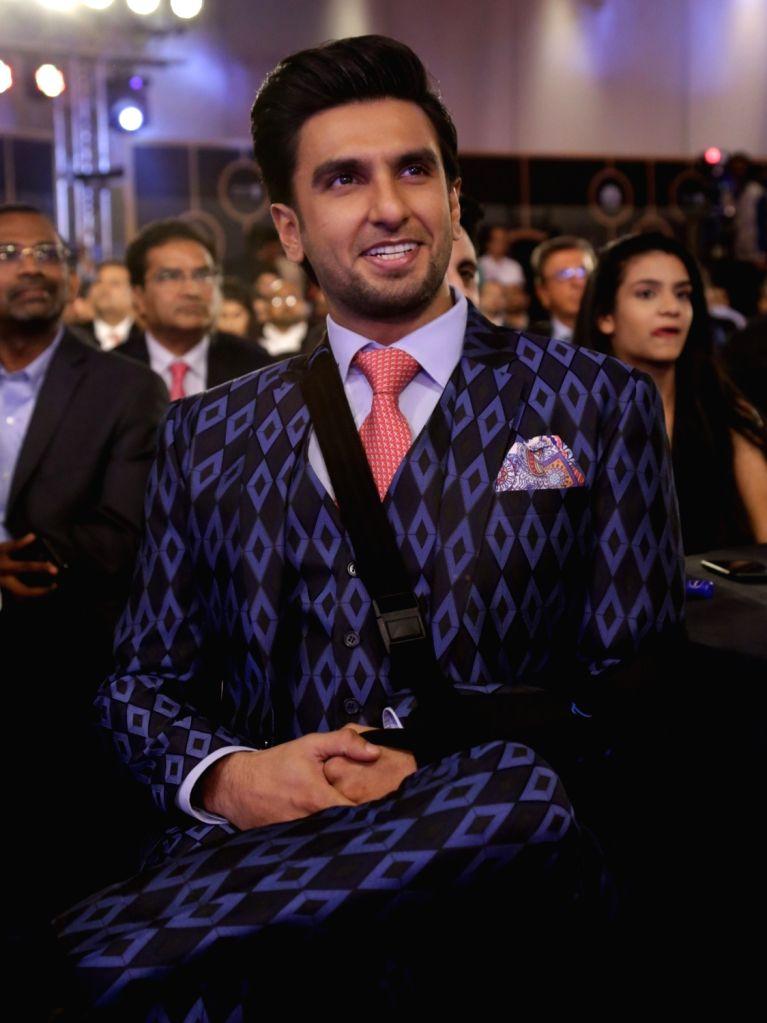 Actor Ranveer Singh during India Business er Awards in New Delhi on April 6, 2018. - Ranveer Singh