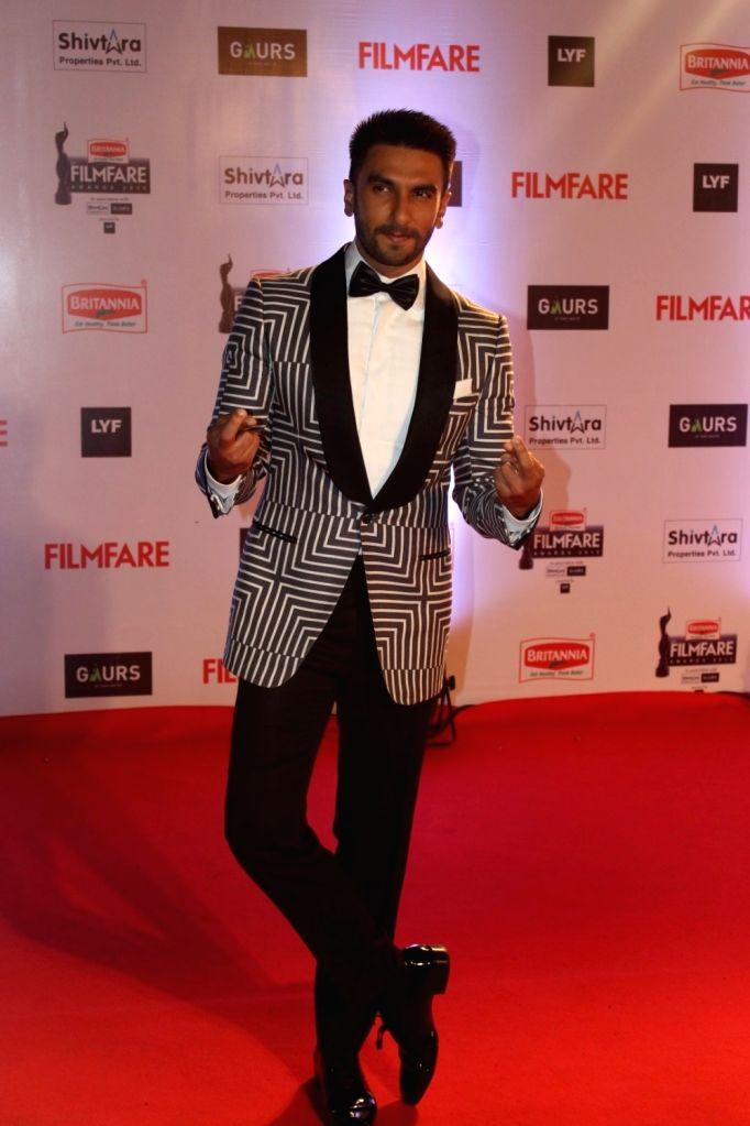 Actor Ranveer Singh during the 61st Britannia Filmfare Awards in Mumbai on January 15, 2016. - Ranveer Singh