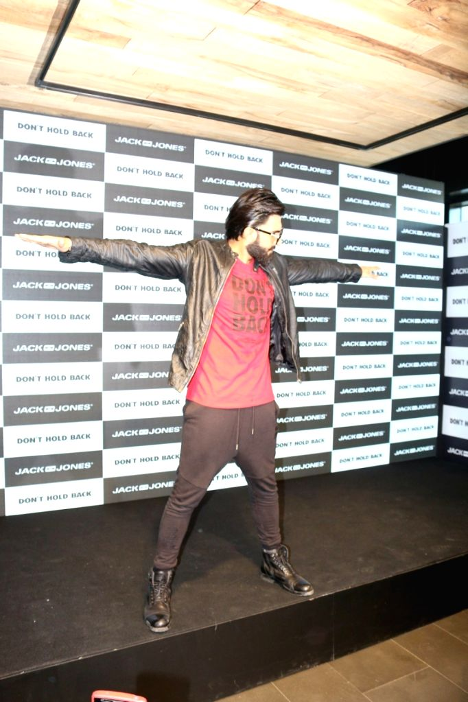 Actor Ranveer Singh during the launch of brand campaign Don't Hold Back by fashion brand Jack & Jones in Mumbai on Oct. 7, 2016. - Ranveer Singh