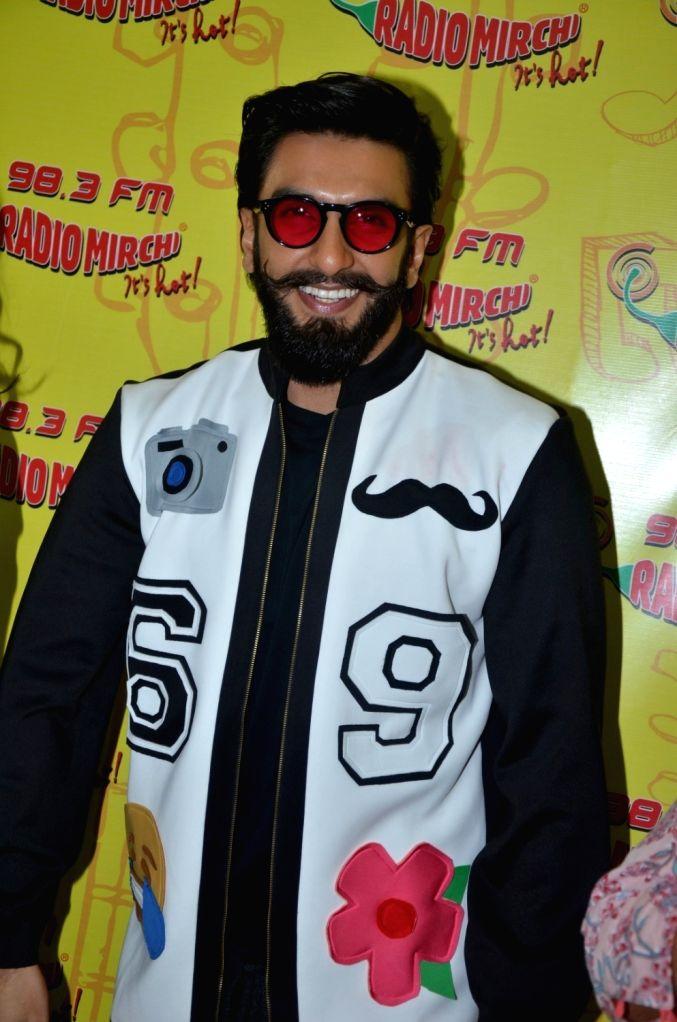 Actor Ranveer Singh during the promotion of film Befikre at Radio Mirchi studio in Mumbai, on Nov 28, 2016. - Ranveer Singh