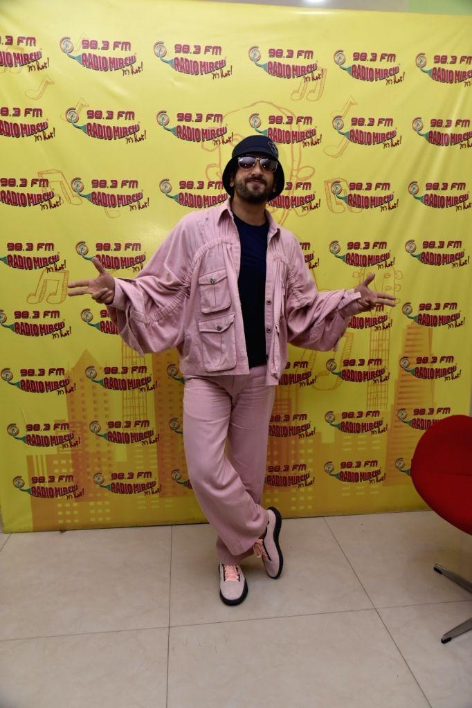 "Actor Ranveer Singh during the promotion of his upcoming film ""Gully Boy"" at Radio Mirchi studio in Mumbai, on Feb 4, 2019. - Ranveer Singh"