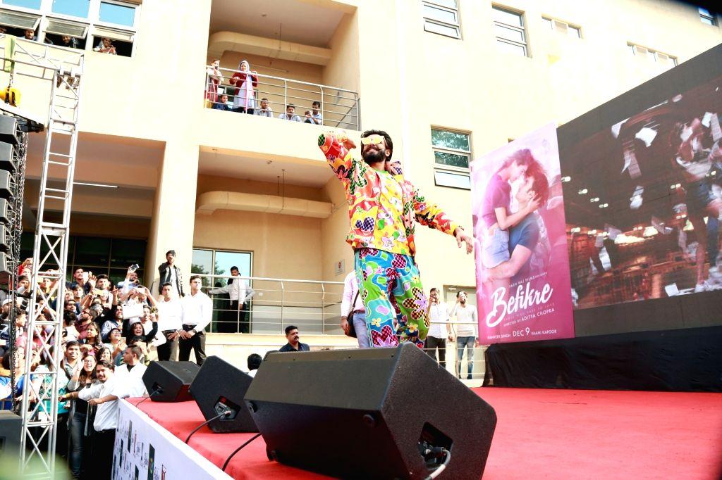 """Actor Ranveer Singh during the song launch of his upcoming film """"Befikre"""" at Faculty of Law, University of Delhi; in New Delhi on Nov 23, 2016. - Ranveer Singh"""