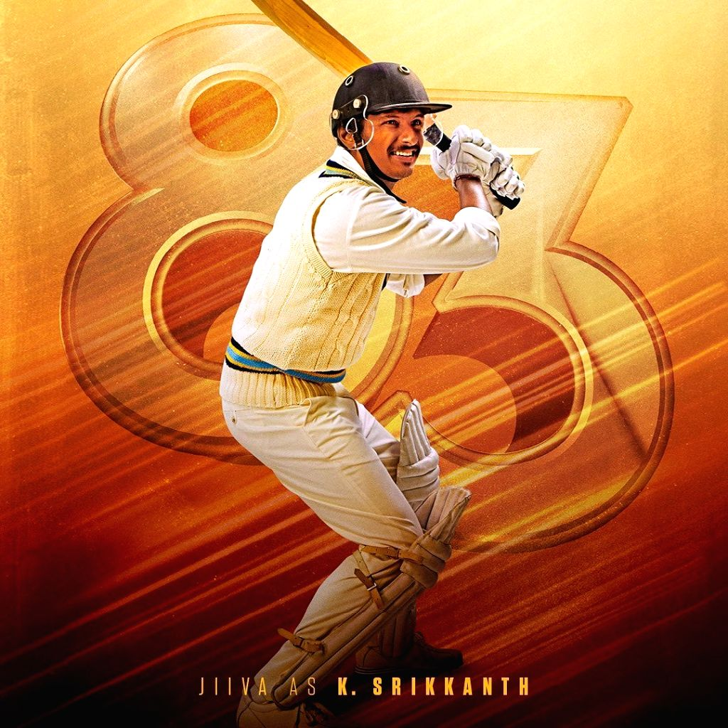 """Actor Ranveer Singh on Sunday tweeted a new character poster featuring actor Jiiva as former cricketer K. Srikkanth of the upcoming film """"83"""". - Ranveer Singh"""