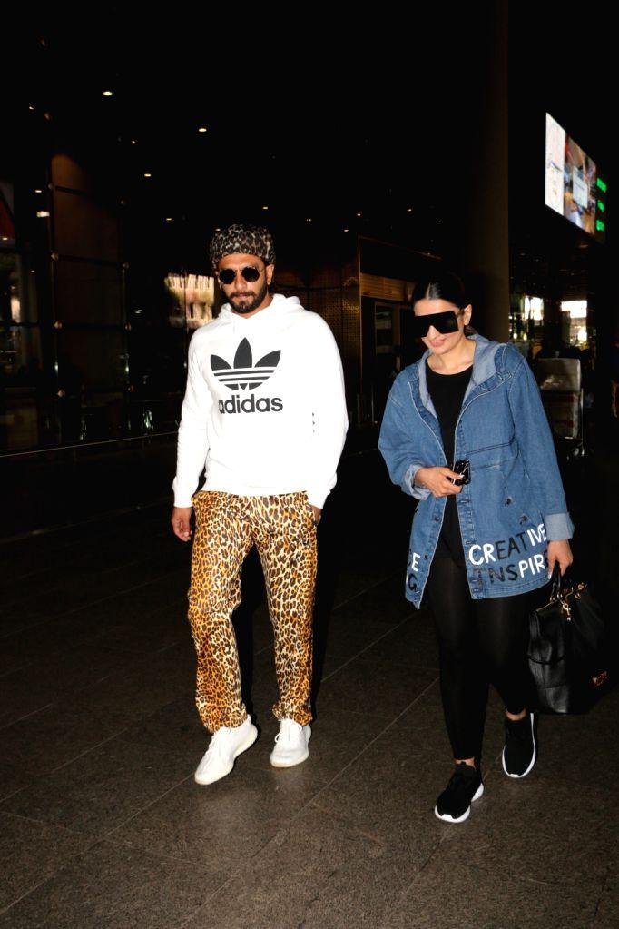 Actor Ranveer Singh seen with his sister Ritika Bhavnani at Chhatrapati Shivaji International Airport in Mumbai on March 7, 2019. - Ranveer Singh