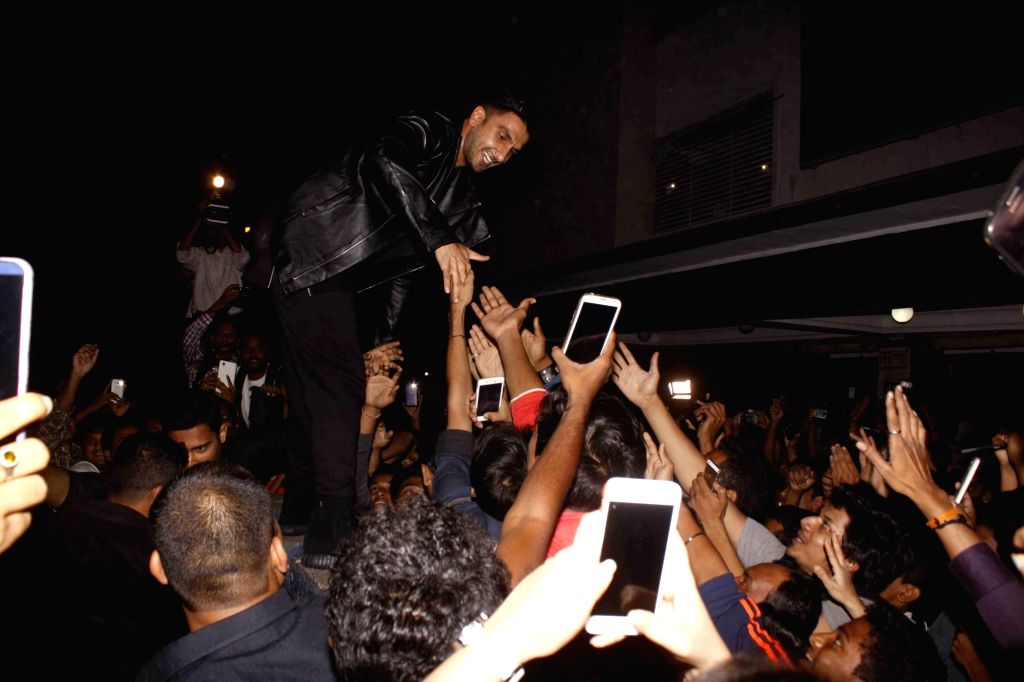 Actor Ranveer Singh visits Chandan Cinema to promote his film Bajirao Mastani in Mumbai on Dec 20, 2015.
