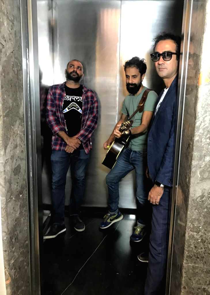 Actor Ranvir Shorey and singer-music composers Ankur Tewari and Sidd Coutto at media interactions regarding their collaboration 'Upar Neeche' that got a video release on Sony Music, in Mumbai ... - Ranvir Shorey