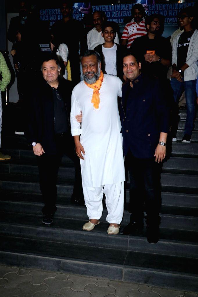 """Actor Rishi Kapoor and director Anubhav Sinha at the special screening of film """"Mulk"""" in Mumbai on Aug 2, 2018. - Rishi Kapoor and Anubhav Sinha"""