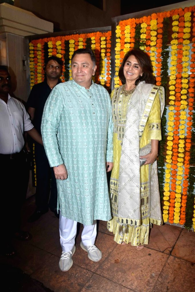 Actor Rishi Kapoor and his wife Neetu Kapoor at the Diwali bash party of producer Ekta Kapoor in Mumbai on Oct 26, 2019. - Rishi Kapoor, Neetu Kapoor and Ekta Kapoor