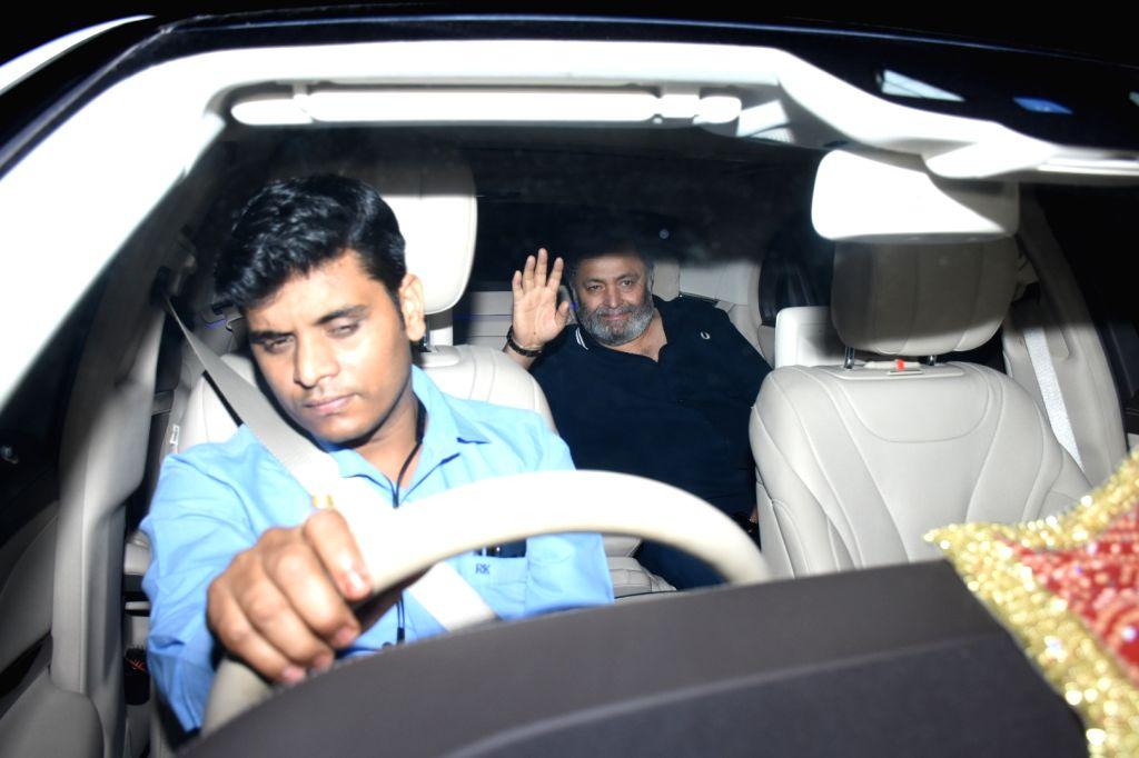 Actor Rishi Kapoor at the birthday bash of his son Ranbir Kapoor, in Mumbai on Sep 27, 2019. - Rishi Kapoor and Ranbir Kapoor
