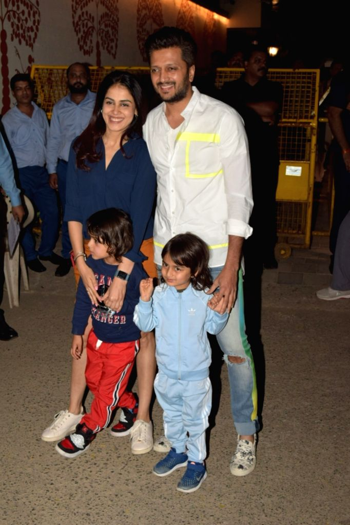 Actor Riteish Deshmukh along with his wife Genelia D'Souza and childrens Riaan Deshmukh and Rahyl Deshmukh attend the birthday party of Aaradhya Bachchan, the daughter of actors Abhishek ... - Riteish Deshmukh, Abhishek Bachchan, Aishwarya Rai Bachchan, Genelia D'Souza, Riaan Deshmukh, Rahyl Deshmukh and Aaradhya Bachchan