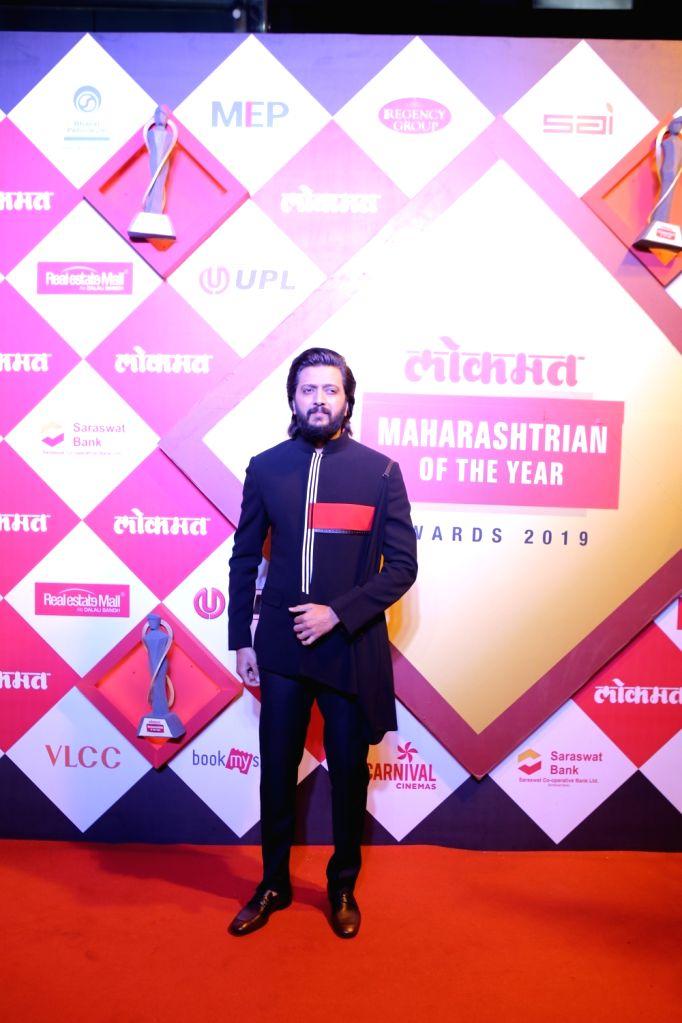 Actor Riteish Deshmukh at Lokmat Maharashtrian of the Year Awards 2019 in Mumbai, on Feb 20, 2019. - Riteish Deshmukh