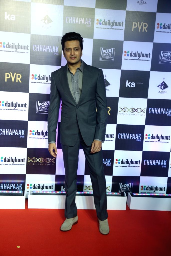 "Actor Riteish Deshmukh at the screening of the film ""Chhapaak"" in Mumbai on Jan 8, 2020. - Riteish Deshmukh"