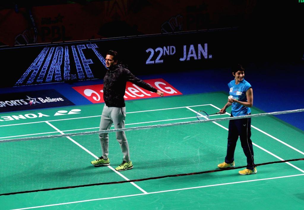 Actor Riteish Deshmukh during a PBL exhibition match in New Delhi, on Jan 17, 2016. Mumbai Rockets won. - Riteish Deshmukh