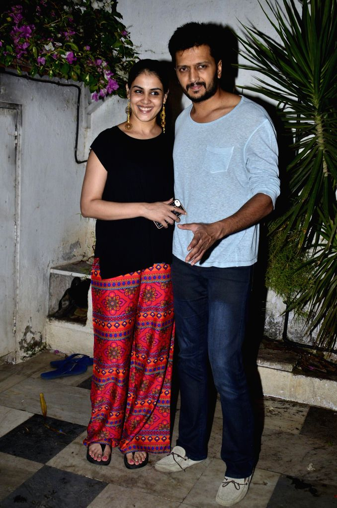 Actor Riteish Deshmukh with his wife and actress Genelia D'Souza during the success party of the film Ek Villain in Mumbai on 5th July 2014 - Riteish Deshmukh and Genelia D'Souza